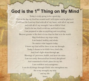 Prayer - God is the first thing on my mind