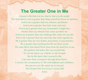 Prayer - The Greater One in Me
