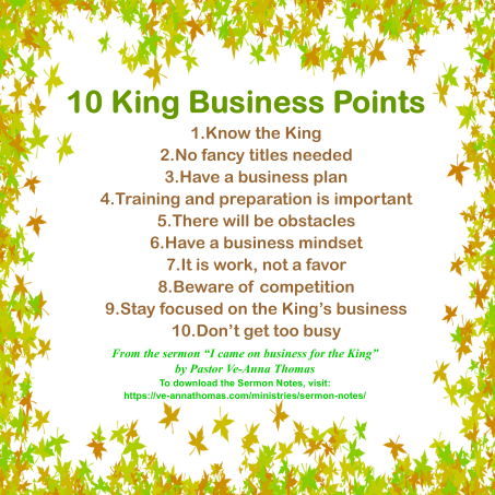 Sermon Photo - I came on Business for the King 1