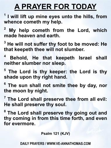 Prayer for Today - Sat 1 Aug 2020 - Psalm 121 (KJV)