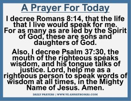 Prayer for Today - Tues 10 Nov 2020
